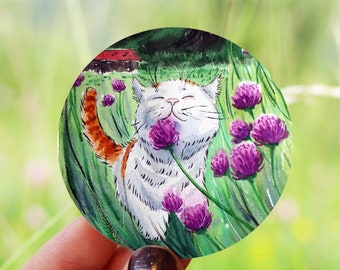 Happy Cat Vinyl Sticker - kawaii cat sticker, laptop sticker, cat decal, funny cat sticker, animal sticker, Thanksgiving gifts