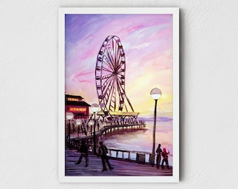 Seattle Art Print - Seattle Wall Art f.t. Waterfront Park, the Seattle Great Wheel and pink sunset, Thanksgiving gifts