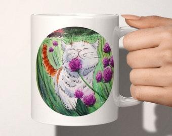 Cute Cat Mug - cat coffee mug, ceramic tea cup, cat lover gift, cottagecore gift, Thanksgiving gifts