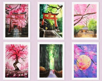 Japan Art Greeting Card Set of 6 - nature greeting cards, Kyoto cherry blossom, Japan travel cards, Thanksgiving cards