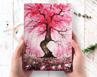 Cherry Blossom Journal - sakura hardcover journal, nature art journal, inspirational art journal, Thanksgiving gifts