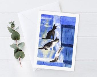 Cat Greeting Card - blank inside, nature greeting card, cute cat art, Thanksgiving card