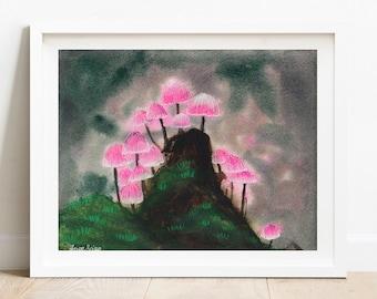 Watercolor Mushroom Art Print - pink mushroom wall art, giclee fine art print, Thanksgiving gifts
