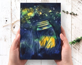 Catching Firefly Journal - hardcover journal, forest nature art journal, Thanksgiving gifts