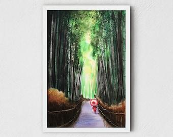 Japanese Art Print - Kyoto nature wall art, Arashiyama bamboo forest, giclee fine art print, Thanksgiving gifts
