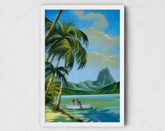 Hawaii Art Print - nature wall art, Hawaii beach art, giclee fine art print, unique tropical gifts, Thanksgiving gifts