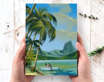 Hawaii Travel Journal - hardcover journal, tropical art journal, Thanksgiving gifts