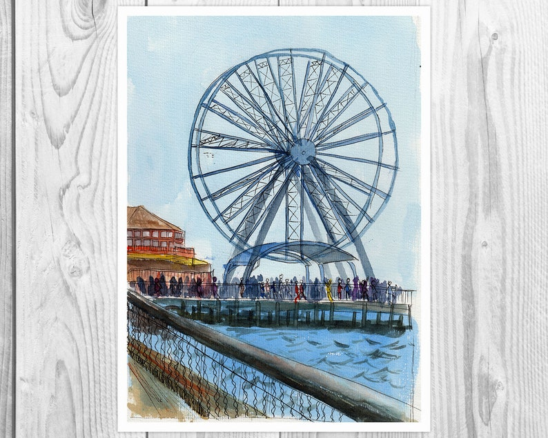 Signed Original Painting, Seattle Great Wheel