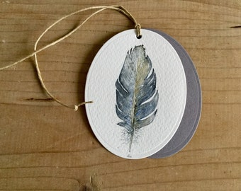 Watercolor Gift or bouquet label Feather