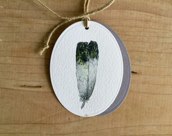 Watercolor Gift or bouquet label Feather 2