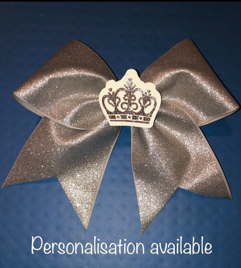 queens cheer bow stiff glitter cheer bow silver glitter 3D crown cheer bow stiff cheer bow silver cheer bow personalised cheer bow