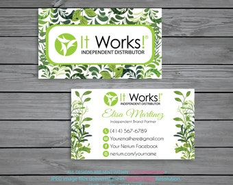 Personalized It Works Business Cards Green Independent Distributor Digital File IW03