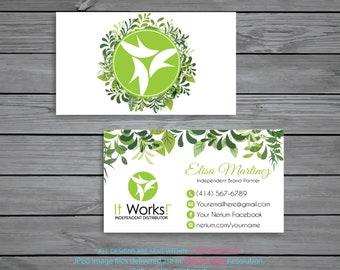 It Works Business Cards Personalized Green Independent Distributor Digital File IW03