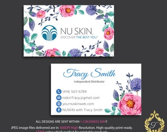 Nu skin business card personalized nuskin business card etsy nu skin business card personalized nuskin business card watercolor business card nu skin marketing printable digital file nk02 colourmoves