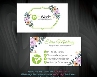 personalized it works business cards it works business cards green cards independent distributor digital file iw04 - It Works Business Cards