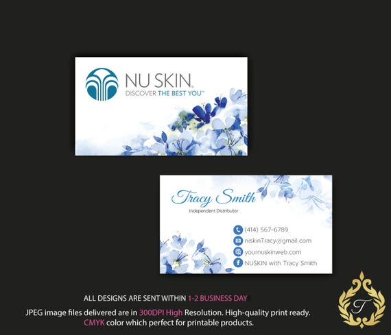 Nu skin business card personalized nuskin business card etsy image 0 reheart Gallery