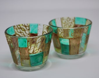Pair of Handpainted Candle Holders