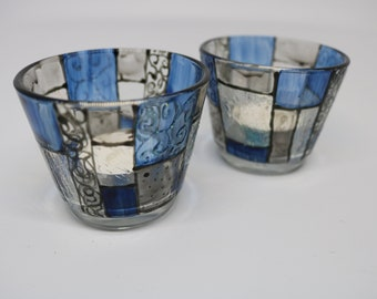 Hand painted Candle Holders Pair