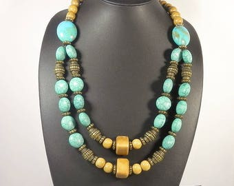 Turquoise Blue Multistrand Necklace Statement Necklaces For Women Boho Jewelry Layered Beaded Necklace Chunky Gypsy Necklaces Gift for her