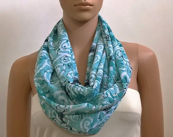 Long Infinity Scarf Shawl Teal Blue Fashion Scarves for Women Chunky Tube Scarf Circle Cowl Scarf Loop Summer Scarf Gift for her Accessories