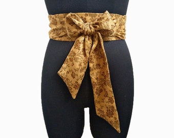 Orange Obi ceinture ceinture drapée taille serre-taille Brown Floral Corset  ceinture Wrap ceinture Cinch ceintures ceintures femmes fait à la main  cadeau de ... 110c013fcbd