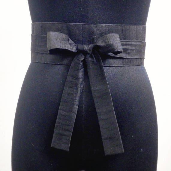 Black Obi Belt Sash Cummerbund Waist Cincher Raw Silk Corset Belt Wrap Belt Waist Cinch Belts Wedding Sashes Womens Handmade Accessories