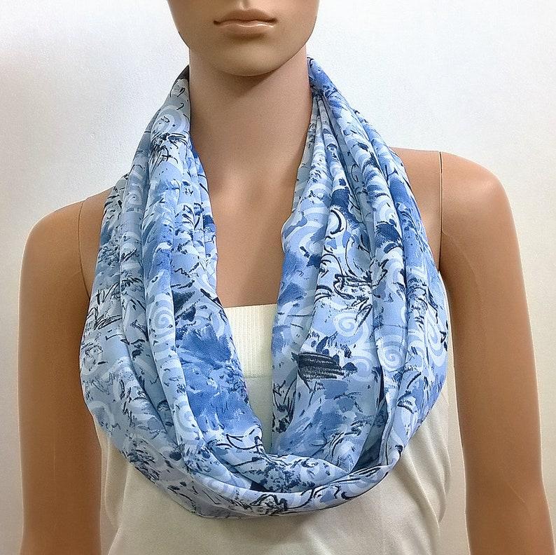 254df055ac0 Bleu infini écharpe femme blanc printemps Long foulards cercle