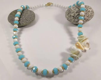 Shell Necklace Abalone Statement Necklaces For Women Blue White Long Beaded Necklace Chunky Necklaces Gift for her Handmade Fashion Jewelry