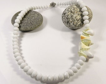 Shell Necklace White Abalone Statement Necklaces For Women Long Beaded Necklace Chunky Necklaces Gift for her Handmade Fashion Jewelry