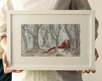 Original Watercolour Painting Lady Yaera found Nakato in the Forest