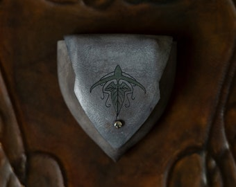 """Grey Elven Leather Pouch """"Green Mallorn Leaf"""""""