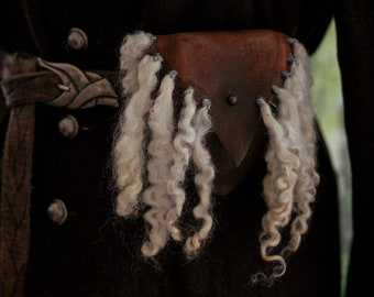 Elven or Viking Leather Pouch with Wool embellishment