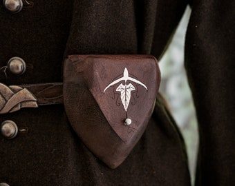 """Brown Elven Leather Pouch """"Silver Mallorn Leaf"""""""