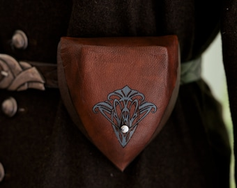 """Brown Elven Leather Pouch """"Teal Flower"""""""