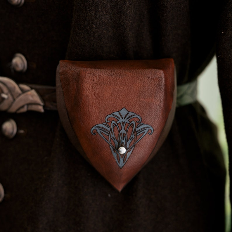 Brown Elven Leather Pouch Teal Flower image 1
