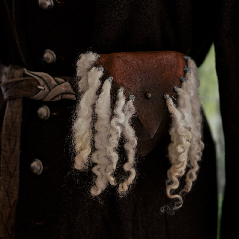 Elven or Viking Leather Pouch with Wool embellishment image 1