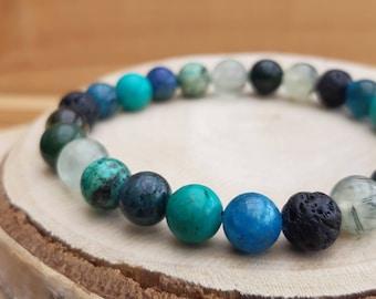Essential oil sea crystal diffuser bracelet/ 'Atlantis' diffuser bracelet / Aromatherapy lavastone diffuser bracelet