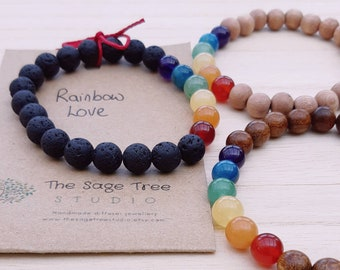 Random Acts of Kindness 'Rainbow Love' crystal diffuser bracelet, choice of beads, free personalised card, free gift wrap, free UK delivery