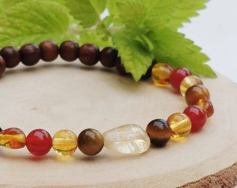 Summer Solstice crystal diffuser bracelet / Sunshine gemstone essential oil diffuser bracelet / Aromatherapy lavastone diffuser bracelet