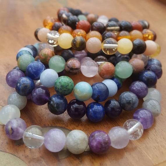 Complete set of chakra  crystal diffuser bracelets / Essential oil diffuser chakra bracelets / Aromatherapy lavastone diffuser bracelets