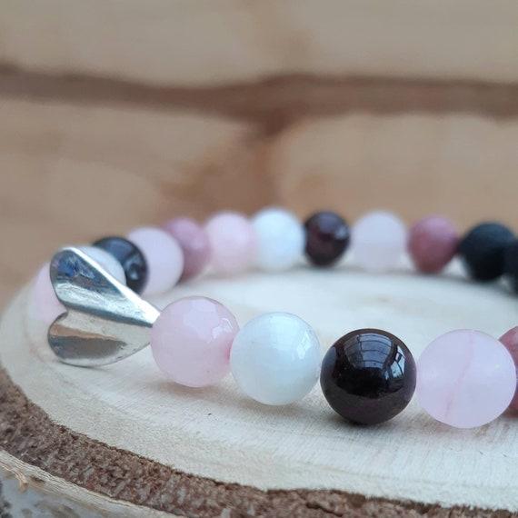 Pink crystal essential oil diffuser bracelet / 'Love Is All Around' gemstone diffuser bracelet / Aromatherapy lavastone diffuser bracelet
