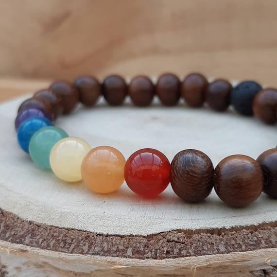 Rainbow crystal diffuser bracelet / 'Pride' gemstones and wood essential oil diffuser bracelet / Aromatherapy lavastone diffuser bracelet