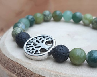 Green crystal 'Tree of Life' essential oil diffuser bracelet / Green gemstone diffuser bracelet / Aromatherapy lavastone diffuser bracelet