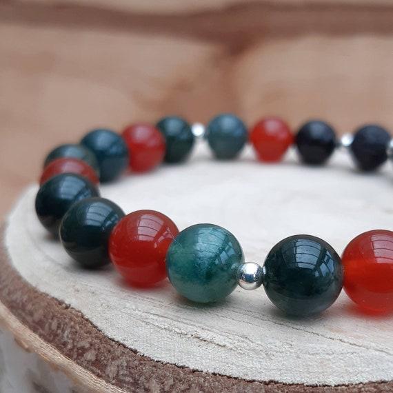 Holly and Ivy gemstone diffuser bracelet / Christmas crystal essential oil diffuser bracelet /Aromatherapy lavastone diffuser bracelet