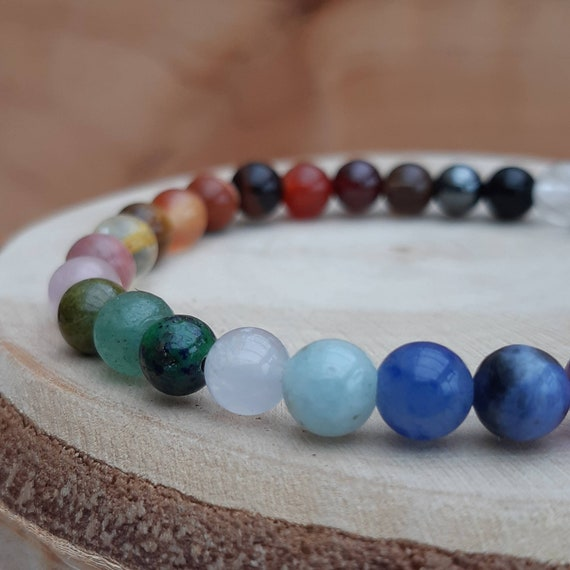 Multi crystal chakra diffuser bracelet / Essential oil gemstone chakra diffuser bracelet / Aromatherapy lavastone diffuser bracelet