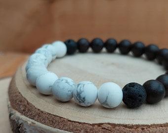 Men's howlite crystal essential oil diffuser bracelet / Howlite, wood and lavastone diffuser bracelet / Aromatherapy diffuser bracelet