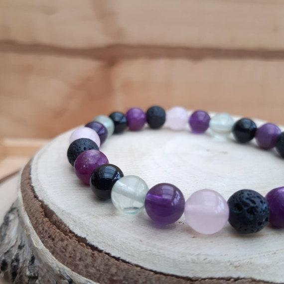 Affirmation crystal diffuser bracelet / Essential oil diffuser bracelet with crystals for anxiety / Aromatherapy lavastone diffuser bracelet