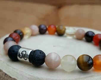 Leo zodiac crystal bracelet / Zodiac gemstone diffuser bracelet / Essential oil diffuser / Aromatherapy lavastone diffuser bracelet