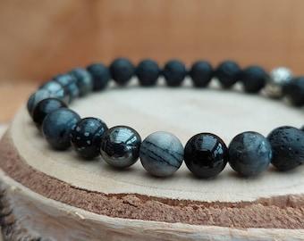 Men's black crystal essential oil diffuser bracelet / Large black crystal diffuser bracelet / Aromatherapy lavastone diffuser bracelet