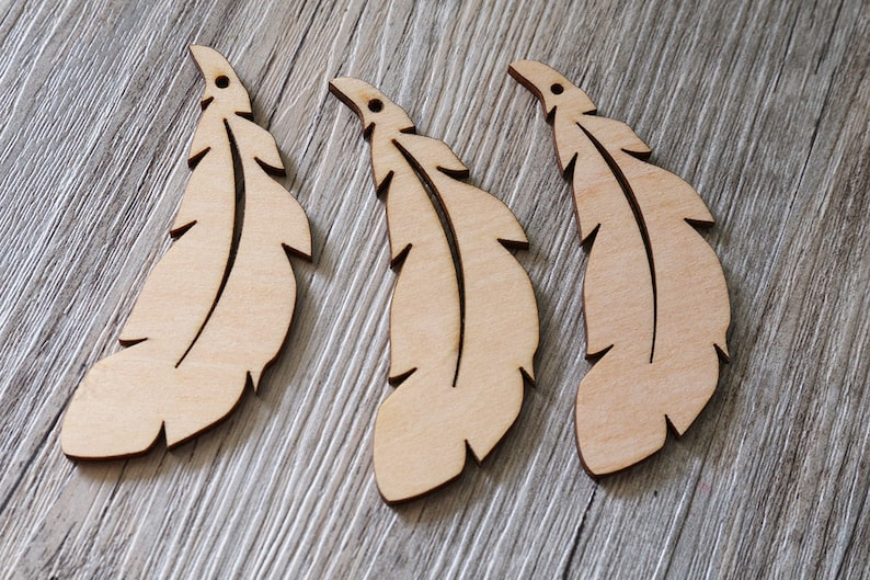 Unfinished wooden feather,wood craft feather,Laser cut wooden feathers
